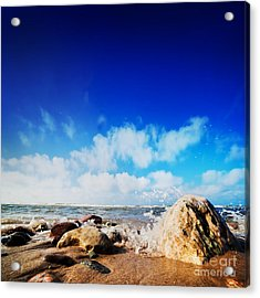 Waves Hiting Rocks On The Sunny Beach Acrylic Print by Michal Bednarek
