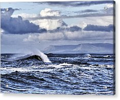 Waves In Easkey Acrylic Print by Tony Reddington