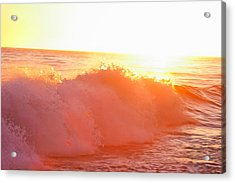 Waves In Sunset Acrylic Print