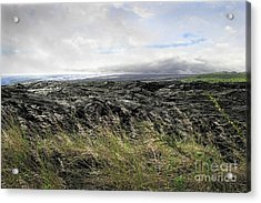 Acrylic Print featuring the photograph Waves Of Clouds Sea Lava And Grass by Ellen Cotton