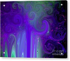 Waves Of Violet - Abstract Acrylic Print by Susan Carella
