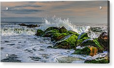Waves On The Jetty Acrylic Print by David Hahn