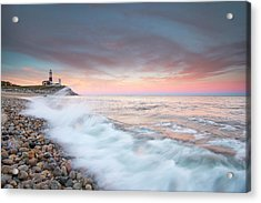 Waves Wash Over Cobbles In Front Acrylic Print