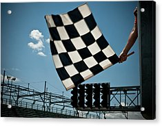 Waving Checkered Flag Acrylic Print by Stevedangers
