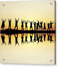 Waving Children Acrylic Print by Tim Gainey