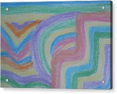 Acrylic Print featuring the drawing Waving Colors by Thomasina Durkay
