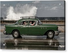Waving Malecon Acrylic Print by Andreas Bauer