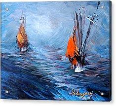 Wavy Sea Acrylic Print by Helene Khoury Nassif