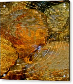 Wavy Water On Colorful Rocks Acrylic Print by Kirsten Giving
