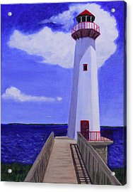 Acrylic Print featuring the painting Wawatam Lighthouse by Janet Greer Sammons