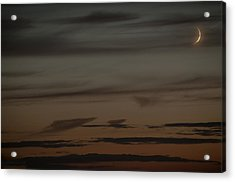Waxing Crescent Moon Over Purple And Orange Evening Sky Acrylic Print