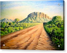 Acrylic Print featuring the painting Way To Maralal by Anthony Mwangi