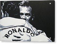 Wayne Rooney And Ronaldo - Manchester United Fc Acrylic Print by Geo Thomson