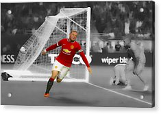 Wayne Rooney Scores Again Acrylic Print by Brian Reaves