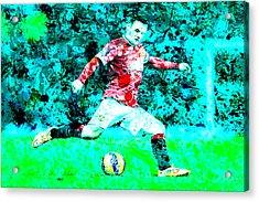 Wayne Rooney Splats Acrylic Print by Brian Reaves