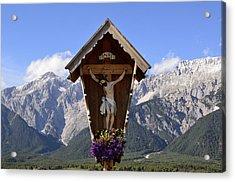 Wayside Cross In Alps Acrylic Print