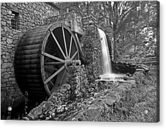 Wayside Inn Grist Mill Black And White Acrylic Print