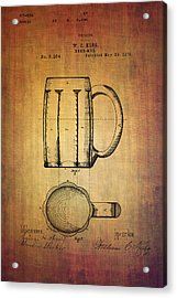 W.c.king Beer Mug Patent From 1876 Acrylic Print by Eti Reid