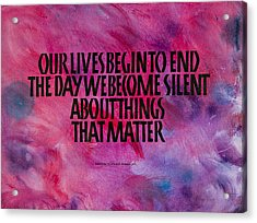 We Become Silent Acrylic Print by Elissa Barr