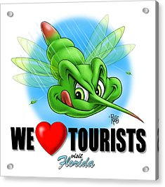 Acrylic Print featuring the digital art We Love Tourists Mosquito by Scott Ross