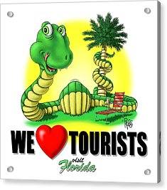 Acrylic Print featuring the digital art We Love Tourists Snake by Scott Ross