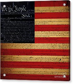 We The People - The Us Constitution With Flag - Square Acrylic Print by Wingsdomain Art and Photography