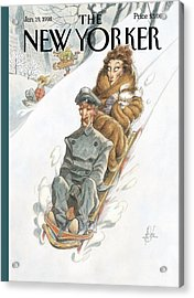 Wealthy Woman Rides A Sled With A Driver Acrylic Print by Peter de Seve