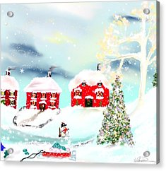 Acrylic Print featuring the painting Wear Those Hats And Mittens by Lori  Lovetere