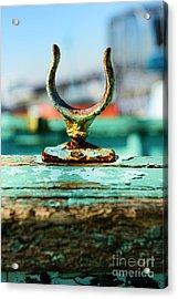 Weathered Boat Oar Lock Acrylic Print by Paul Ward