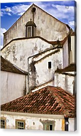 Weathered Buildings Of The Medieval Village Of Obidos Acrylic Print by David Letts