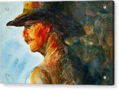 Weathered Cowboy Acrylic Print by Jani Freimann