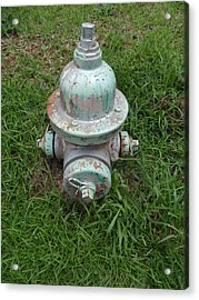 Weathered Fire Hydrant Acrylic Print by James Potts