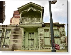 Acrylic Print featuring the photograph Weathered Old Green Wooden House by Imran Ahmed