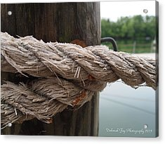 Weathered Ropes On The Dock Acrylic Print by Deborah Fay