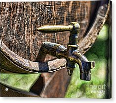 Weathered Tap And Barrel Acrylic Print by Paul Ward