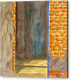 Weathered Wall With Doorway Acrylic Print by Bav Patel