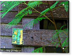 Weathered Wood And Old Paint Acrylic Print by Linda Phelps