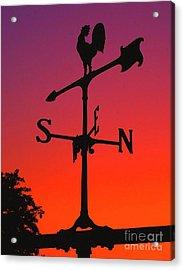 Weathervane At Sunset Acrylic Print by Nick Zelinsky