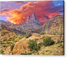 Weavers Needle Acrylic Print by Dominic Piperata