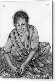 Acrylic Print featuring the drawing Weaving A Mat 2 by Lew Davis