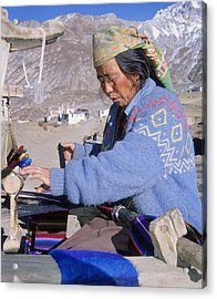 Weaving Scarves In Muktinath Acrylic Print by Richard Berry
