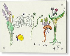 Web Faeries Acrylic Print by Helen Holden-Gladsky