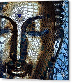 Web Of Dharma - Modern Blue Buddha Art Acrylic Print by Christopher Beikmann