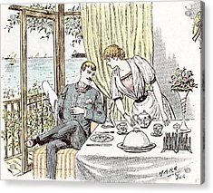 Wedding Anouncement In 1892 At The British Seaside Love Acrylic Print by Maurice Charles Mathieu Bonvoisin (named Maurice Charles Mathieu Bonvoisin (named Mars), (1849-1912), Belgian), (1849-1912), Belgian