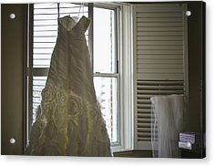 Wedding Dress And Veil By The Window Acrylic Print by Mike Hope