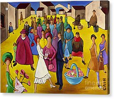 Wedding In Plaza Acrylic Print by William Cain