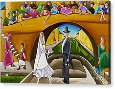 Wedding On Barge Acrylic Print by William Cain