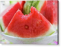 Wedge Of Watermelon, A Bite Taken, In A Glass Bowl Acrylic Print
