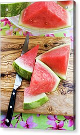 Wedges Of Watermelon And Knife On A Wooden Board Acrylic Print