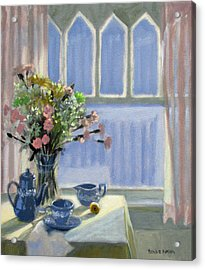 Wedgewood Blues - Flowers By The Window Acrylic Print by Bonnie Mason